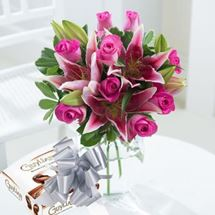 Picture of Roses and Lilies & Chocolates with Ribbons